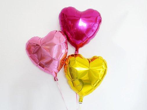 ハート型フォイルバルーン【ピンク・ゴールド】3個set 35.5cm ★送料680円★ガス入りプカプカバルーン
