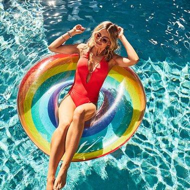 プールリング浮輪 レインボー 110cm - SUNNY LIFE