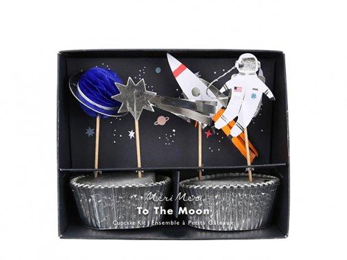 カップケーキキット To the moon (宇宙)  カップ24枚・トッパー24本-MeriMeri