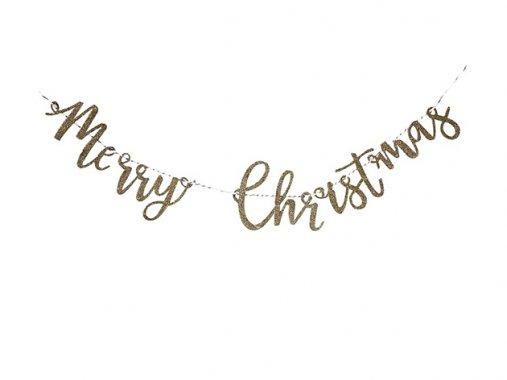 スクリプト Christmas ウッド & グリッターゴールドバナー - Ginger Ray