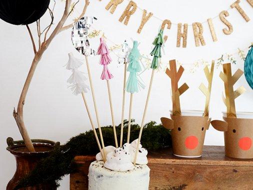 ムーン&スター・クリスマスツリー ケーキトッパーset(25cm)6本入 - MeriMeri
