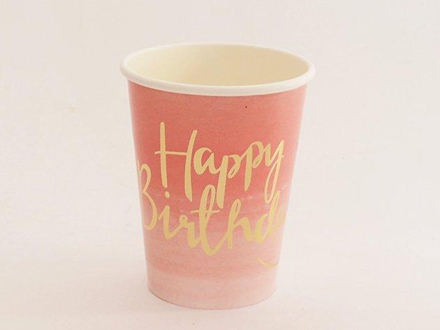 ペーパーカップ Happy Birthdayピンクグラデーション [8枚入] -Ginger Ray
