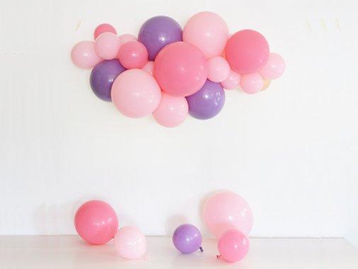 ◆作ってお届け◆送料無料 ピンクパープル バルーンガーランド オブジェ [80-90cm]