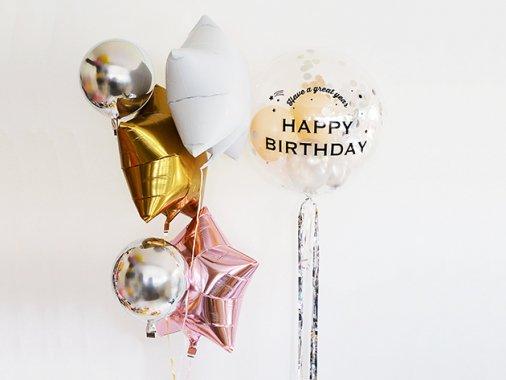 誕生日 バルーンセット【フォントEタイプ】HAPPY BIRTHDAY & スターset &ラウンド ★送料680円★ガス入り