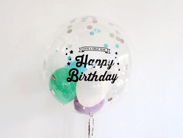 誕生日【フォントBタイプ】 HAPPY BIRTHDAYインサイダーバルーン 44cm ★送料無料★ガス入りプカプカバルーン