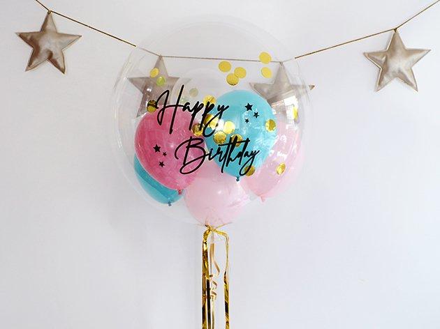 誕生日【フォントDタイプ】 HAPPY BIRTHDAYインサイダーバルーン 44cm ★送料無料★ガス入りプカプカバルーン