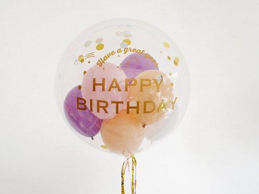 誕生日【GOLDフォントEタイプ】星座 HAPPY BIRTHDAYインサイダーバルーン 44cm ★送料680円★ガス入りプカプカバルーン