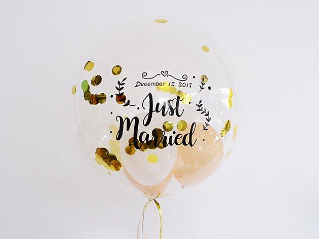 結婚式ウェディング【フォントAタイプ】Just Married インサイダーバルーン 44cm ★送料無料★ガス入りプカプカバルーン|バルーン電報・バルーンギフト