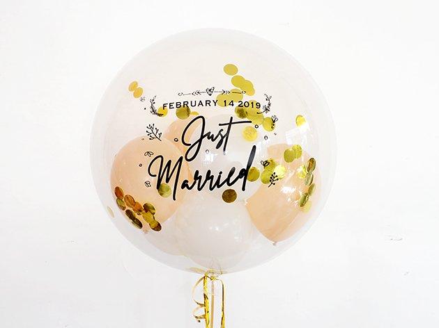 結婚式ウェディング【フォントCタイプ】Just Married インサイダーバルーン 44cm ★送料無料★ガス入りプカプカバルーン|バルーン電報・バルーンギフト
