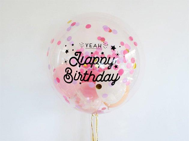 誕生日【フォントAタイプ】 HAPPY BIRTHDAYインサイダーバルーン 44cm ★送料無料★ガス入りプカプカバルーン