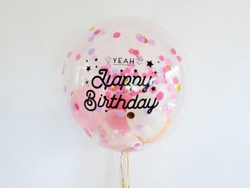 誕生日【フォントAタイプ】 HAPPY BIRTHDAYインサイダーバルーン 44cm ★送料680円★ガス入りプカプカバルーン