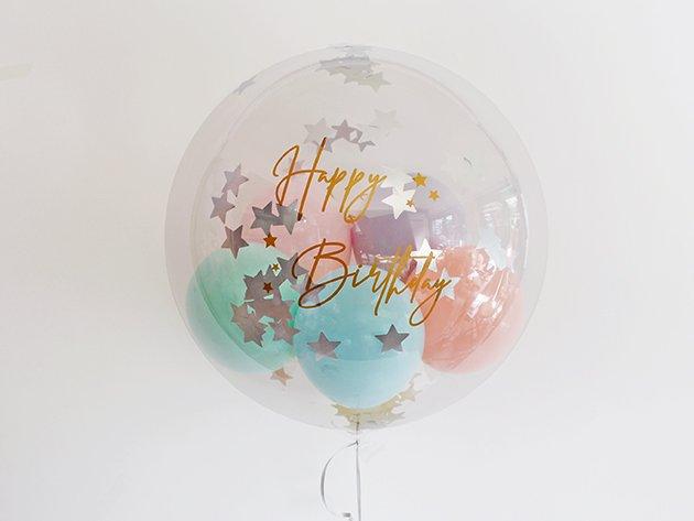 誕生日【GOLDフォントDタイプ】 HAPPY BIRTHDAYインサイダーバルーン 44cm ★送料無料★ガス入りプカプカバルーン
