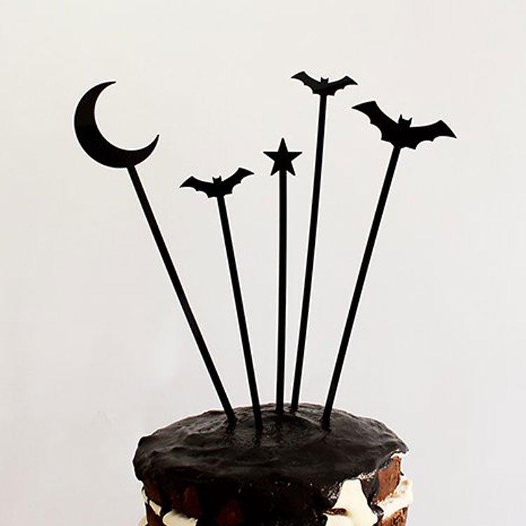★在庫1★ HALLOWEEN ムーン・スター・BAT(コウモリ) ケーキトッパー 5本入