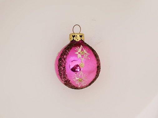 ヴィンテージ ガラス製 ピンク オーナメント【ヨーロッパ 60-70年代】