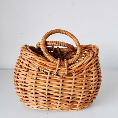 アラログ素材  ハンドル付きバスケット かごバッグ