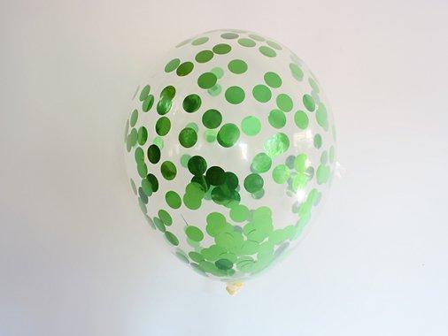 メタリックグリーンコンフェッティ入りバルーン 11'R(23〜28cm)5枚入