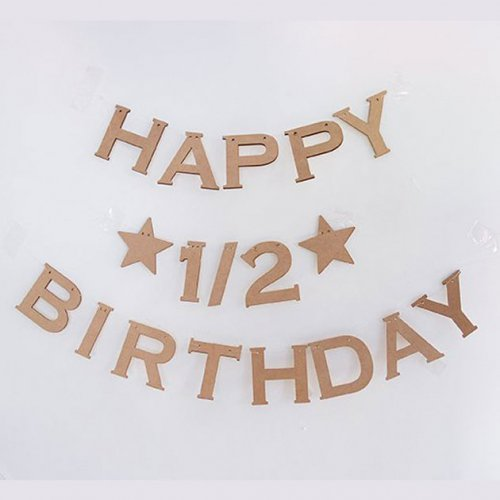 HAPPY★1/2★BIRTHDAY ハーフバースデーウッド ガーランド