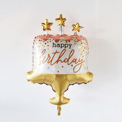 フォイルバルーン Happy Birthday ケーキ コンフェッティ 60cm - betallic