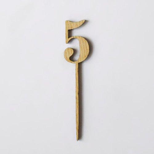 ナンバー【 5 】ウッド ケーキトッパー