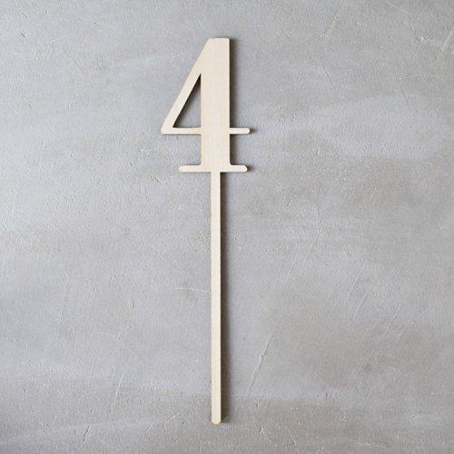 ナンバー【4】数字プロップス ウッド28.5cm - バースデー/月齢/テーブルナンバー