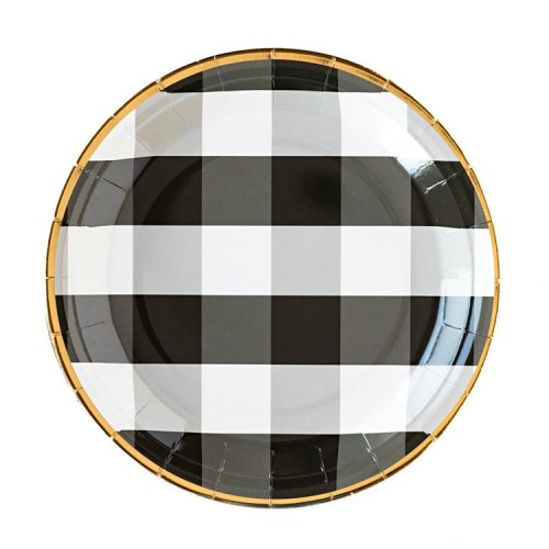<img class='new_mark_img1' src='https://img.shop-pro.jp/img/new/icons14.gif' style='border:none;display:inline;margin:0px;padding:0px;width:auto;' />★完売★ペーパープレート ブラック ギンガムチェック  [8枚入] - My Mind's Eye