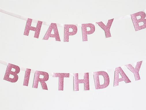 【誕生日】HAPPY BIRTHDAY バナー グリッターピンク-my little day