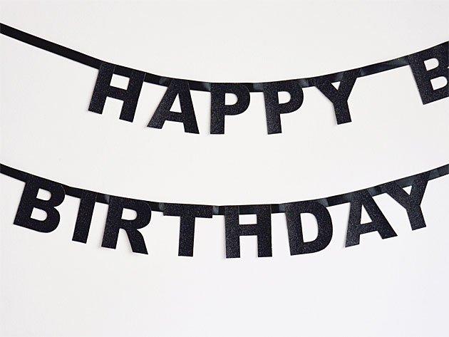 【誕生日】HAPPY BIRTHDAY バナー グリッターブラック-my little day