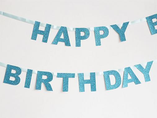 【誕生日】HAPPY BIRTHDAY バナー グリッターブルー-my little day