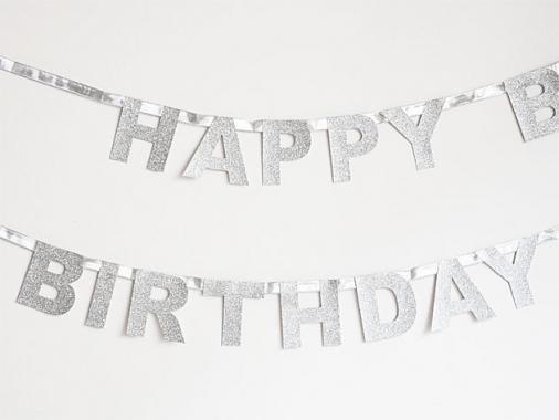 【誕生日】HAPPY BIRTHDAY バナー グリッターシルバー-my little day