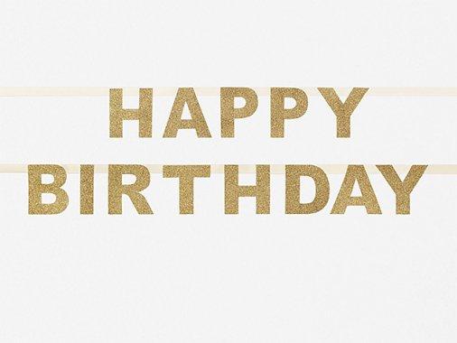 【誕生日】HAPPY BIRTHDAY バナー グリッターゴールド-my little day