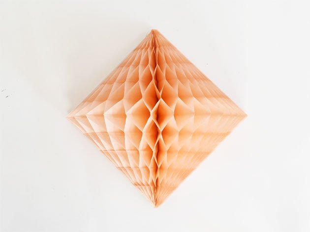 ダイヤモンド型ハニカムデコレーション 30cm  ピーチ