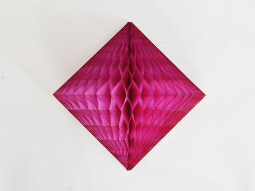 ダイヤモンド型ハニカムデコレーション 30cm  チェリーピンク
