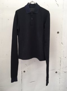 L/S SPLIT COLLAR POLO SHIRTS(black)