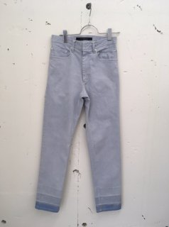 CONTRASTCOLOR DENIM CROPPED SLIM TROUSERS(BLUE)