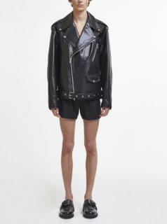 Leather Oversized Biker Jacket(BLACK)