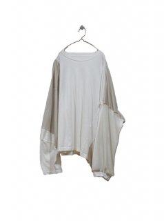 3textile big sleeve L/S Teee (WHITE&BEIGE)