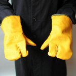 &NUT<br>LEATHER CAMP GLOVES(yellow)