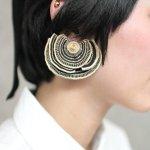 ARRO / Embroidery earring / Turkey Tail (gold)/ペア