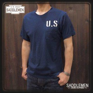 サドルメン「U.S STENCIL」インディゴ・ポケットTシャツ