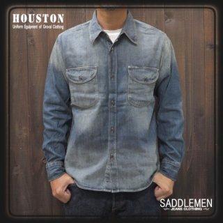 ヒューストン「USA COTTON」デニム ワークシャツ