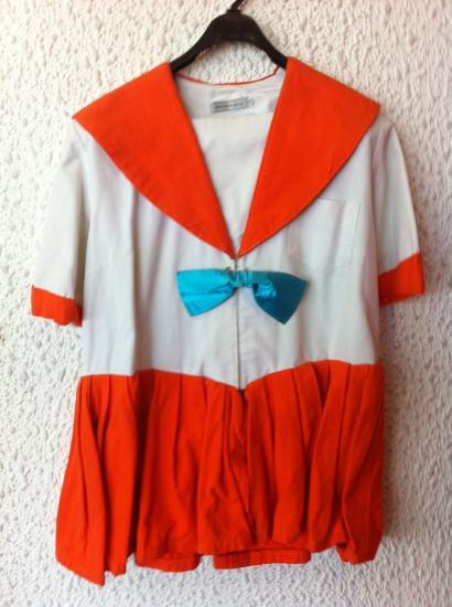 20a49a50e96af 仮装衣装 セーラームーン風 オレンジ 厚地、日本製、14サイズL75cm、 ポリエステル・綿 赤、青、黄、燈・。今日注文同種衣装4着更に30%オフ!