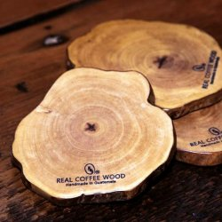 【残りわずか】リアルコーヒーウッドコースター「切り株」(Real coffee wood coaster)