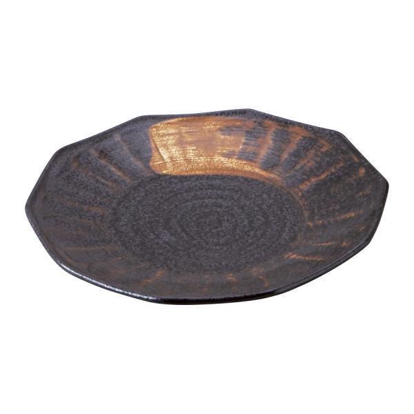 チャーハン皿 黒結晶 十角7.5皿 和食器 日本製 美濃焼 業務用 59-430-A512