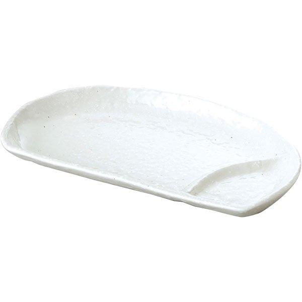 餃子皿 有明 24cm半月仕切皿 粉引 餃子皿 楕円皿 中華食器 ギョウザ皿 日本製 業務用 63-8-147-12