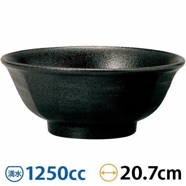 ラーメン丼 けずり6.8寸丼 黒耀 和食器 どんぶり 日本製 業務用 63-7-132-5