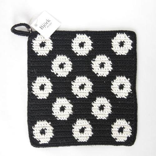 bjorkdesign / スウェーデンから届いた手編みのポットホルダー ( コットン&リネン) ブラック