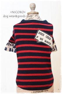 重ね着風ロゴTシャツ*RED×NAVY