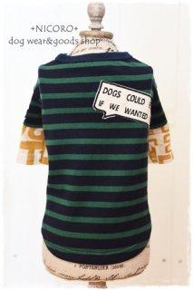 重ね着風ロゴTシャツ*GREEN×NAVY