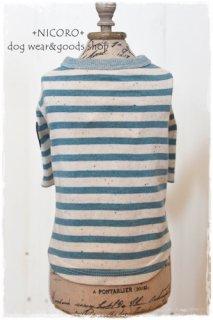 カラーネップボーダーTシャツ*BLUE