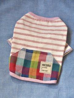 ボタニカル&カラフルポッケTシャツ*ピンク*